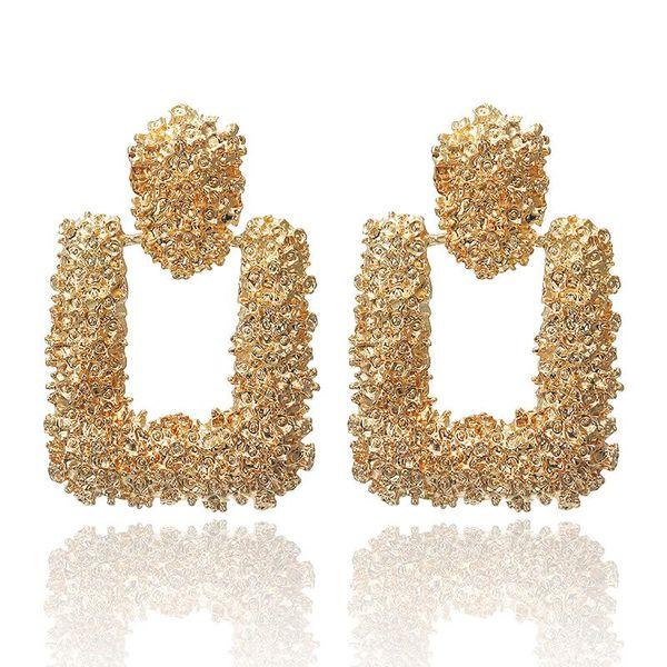 Metal earrings simple geometric shape NHPF174923