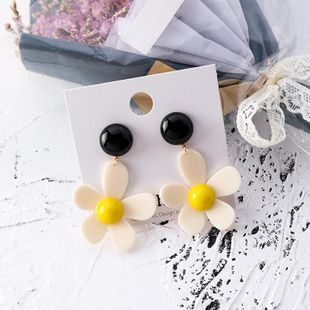 Earrings female big flower earrings acrylic button flower contrast color candy color NHMS174905's discount tags