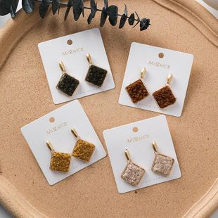 Japanese and Korean fashion autumn and winter lamb hair square earrings plush face earrings NHMS174908's discount tags