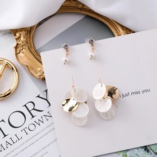 Stud earrings natural shell thin round pearl beads NHMS174917's discount tags