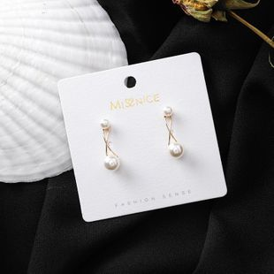 925 silver needle Korean version of the new size pearl simple line staggered earrings net red fashion design wild earrings NHMS175049's discount tags