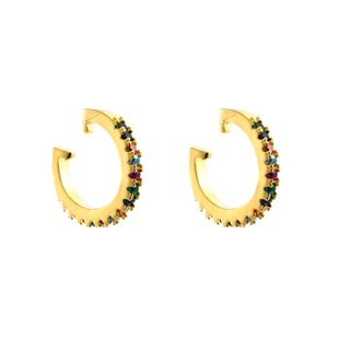 Earrings women with colored oval zircon NHLN174857's discount tags