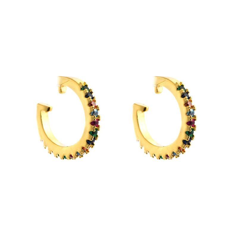Earrings women with colored oval zircon NHLN174857