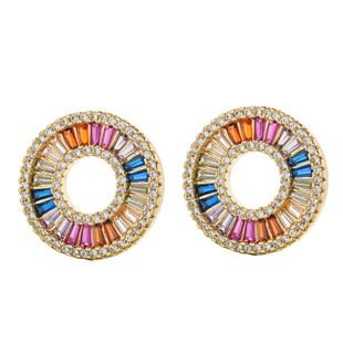 Earrings female zircon alloy diamond circle hollow color temperament NHLL175014's discount tags