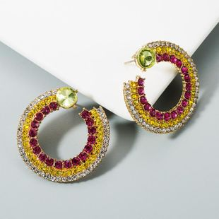 Earrings female C-shaped alloy multi-layer inlaid colored diamond temperament retro earrings NHLN174850's discount tags