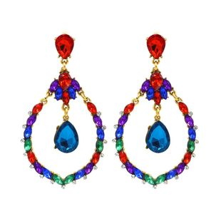 Studded multi-layer diamond-studded glass diamond color earrings ladies fashion super flash NHLN174851's discount tags
