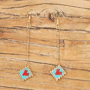Knitted ladies earrings long love earrings miyuki NHGW175099's discount tags