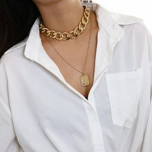 Punk retro portrait necklace PU chain relief NHXR174887's discount tags