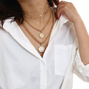 Thick chain geometry tassel creative stack portrait multi-layer vintage necklace NHXR174890's discount tags