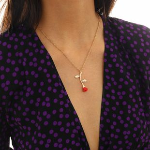 Geometric tassel red rose painting oil necklace NHXR174893's discount tags