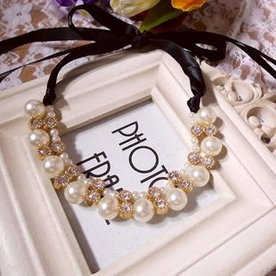 Pearl Snow White Atmosphere Ribbon Drilled Short Necklace Clavicle Chain NHDP175038's discount tags