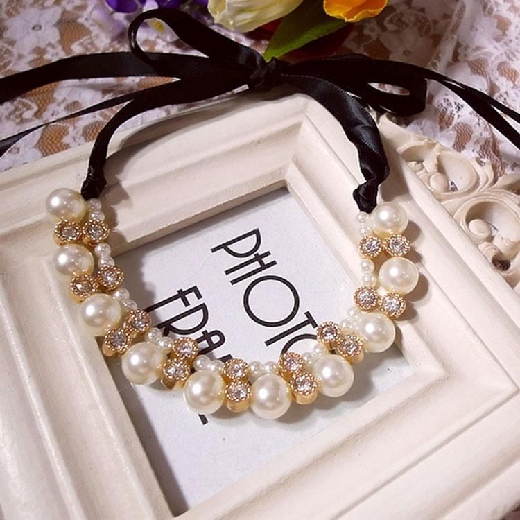 Pearl Snow White Atmosphere Ribbon Drilled Short Necklace Clavicle Chain NHDP175038