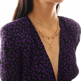 Vintage Multilayer Geometric Ring Multilayer Snake Bone Chain Mix Round Necklace NHXR174894's discount tags