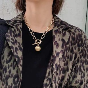 Old scratched frosted ball pendant temperament sweater chain necklace NHYQ174963's discount tags