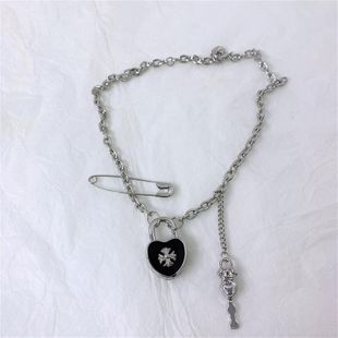 Multi-layered love locks hipsters mix and match cross key short necklace NHYQ175003's discount tags