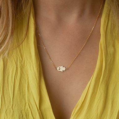 Fatima Hand Buddha Hand Short Chain Necklace NHPV175149