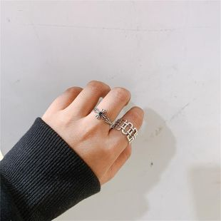 Female ring hollowed out irregular shaped opening cross NHYQ174948's discount tags