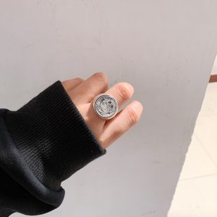 Ring portrait coin printed letters smiley overlap NHYQ174957's discount tags