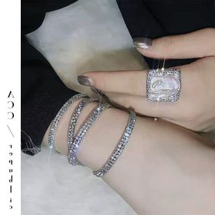 Ring female square gemstone micro-inlaid zircon temperament NHYQ174969's discount tags