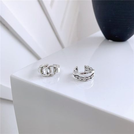 Men and women ring bright silver double ring interlocking temperament adjustable NHYQ174997's discount tags