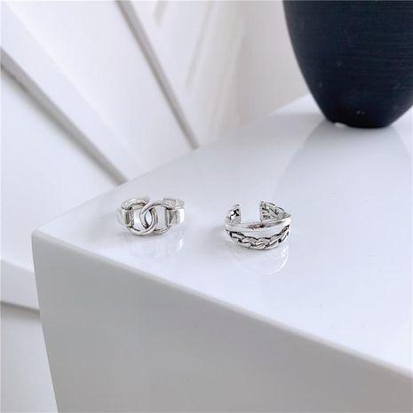 Hommes et femmes bague en argent brillant double anneau de verrouillage de tempérament réglable NHYQ174997's discount tags