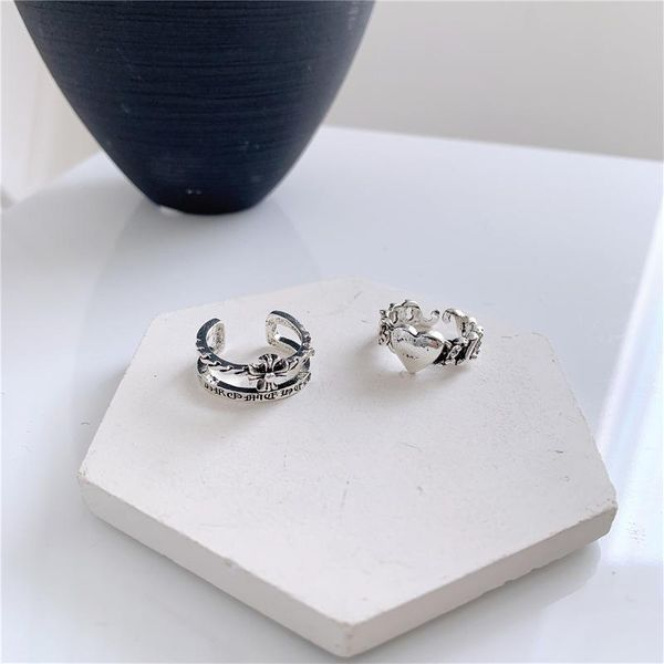 Love couple ring double cross refers to metal bright silver NHYQ175000