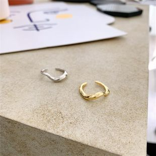Ring minimalist irregular curved wave smooth adjustable NHYQ175001's discount tags