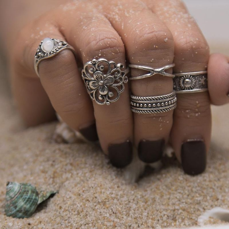 5 five-piece set ring set with gemstone hollow carving pattern NHPV175145