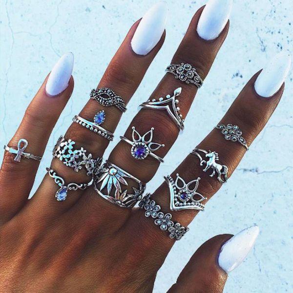 Vintage ethnic gemstone combination 13 piece set ring NHPV175151