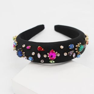 New Baroque temperament fashion sponge diamond colored gemstone headband NHWJ175025's discount tags