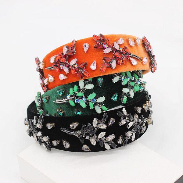 New European and American Baroque headband fashion temperament exaggerated leaves with diamonds dance ball headband NHWJ175029