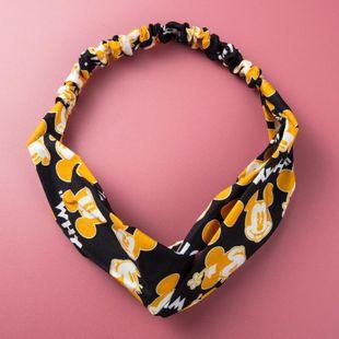 Europe and America retro simple print striped pleated headband elastic elastic hair band NHLN174849's discount tags