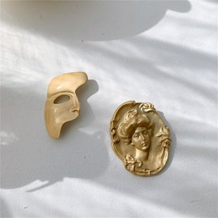 Europe and the United States new unique portrait mask brass brooch NHYQ174977's discount tags