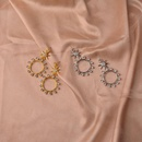 Sixpointed star earrings with diamonds and hollow circles NHWF174874