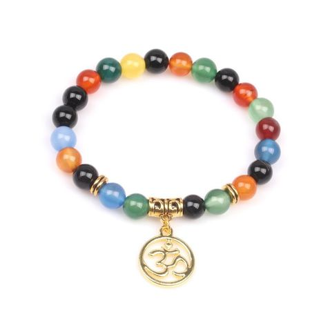 Chakra 8mm Natural Stone Bead Bracelet Colorful Chakra Agate Energy Yoga Buddha 3D Bracelet NHYL175507's discount tags