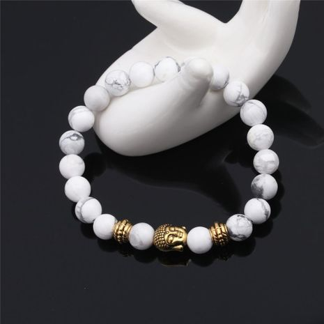 8mm white pine stone head bracelet natural stone DIY beaded bracelet jewelry NHYL175510's discount tags