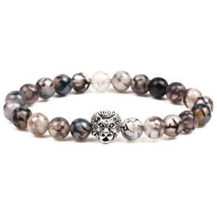 Natural stone black and white dragon agate lion head bracelet retro lion head bracelet NHYL175523's discount tags