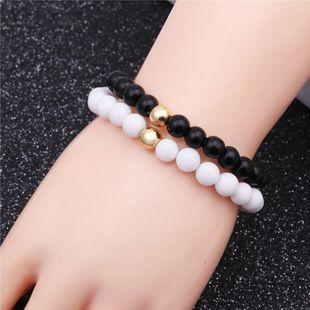 Hot 8mm white stone black matte bracelet natural stone DIY beaded bracelet NHYL175524's discount tags