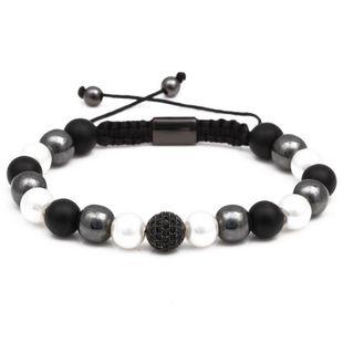 Bracelet hand-woven black rope black gallstone pearl bracelet NHYL175526's discount tags