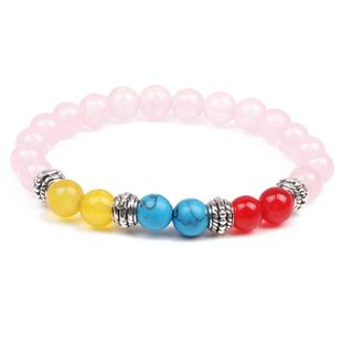 Natural stone colorful chakra energy yoga bracelet 8mm powder crystal agate bracelet bracelet NHYL175528's discount tags