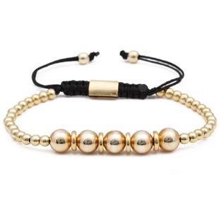 Copper Bead Men's Bracelet 8mm Adjustable Braided Copper Bead Bracelet NHYL175527's discount tags