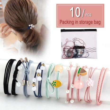 New 10 piece hair rope set head rope hair female hair ring high elastic hair accessories rubber band NHPJ175346's discount tags