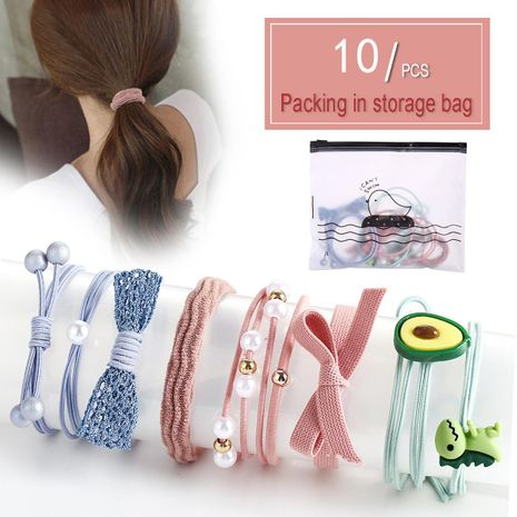 Head rope 10 piece set combination high elastic rubber band gift gift hair rope NHPJ175347's discount tags
