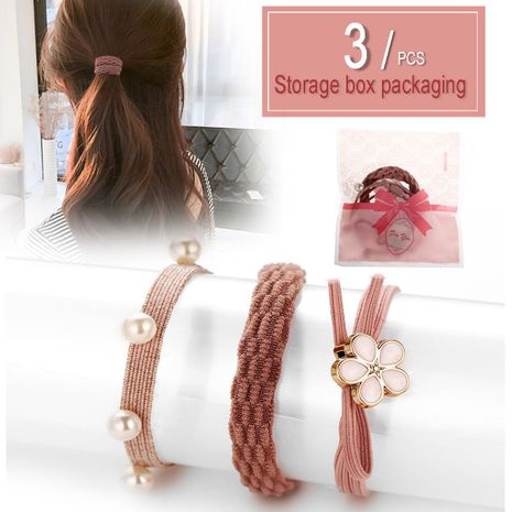 New flower women's hair ring creative simple 3 piece set hair rubber band hair rope NHPJ175354's discount tags