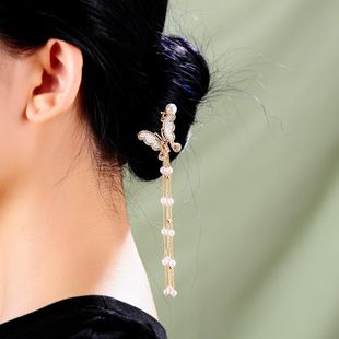 New fashion headdress long pearl butterfly tassel hairpin hair accessory NHQD175406's discount tags