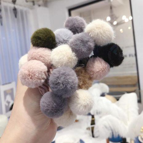 New plush imitation velvet color contrast color hair ball cute high elastic hair rope hair ring female NHSM175240's discount tags