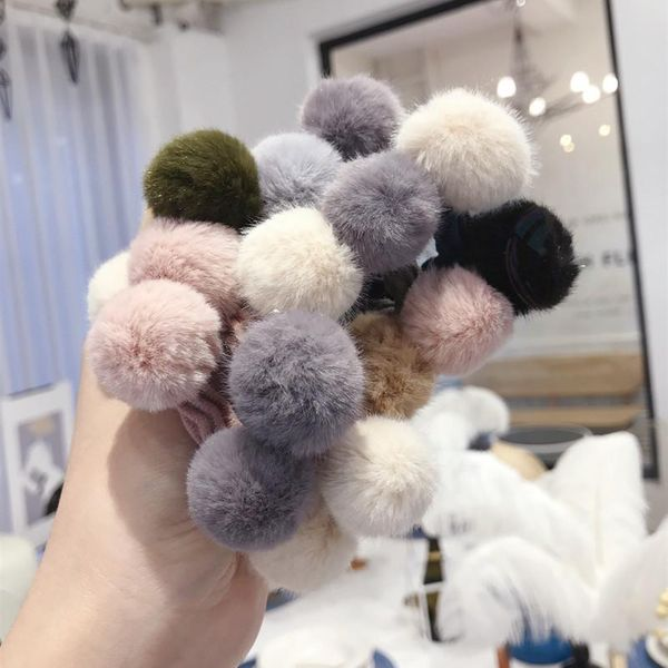 New plush imitation velvet color contrast color hair ball cute high elastic hair rope hair ring female NHSM175240