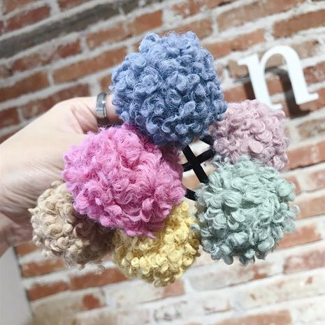 New simple cute colorful lamb hair ball high elastic no trace hair rope hair band tied hair band rubber band ladies NHSM175246's discount tags