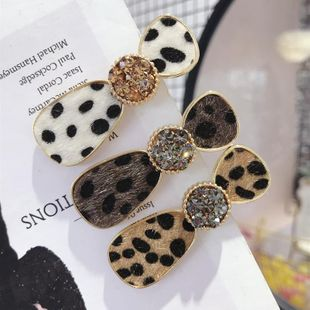 New hair accessories horse hair leopard pattern inlaid Czech diamond super flash duckbill clip hairpin female NHSM175250's discount tags