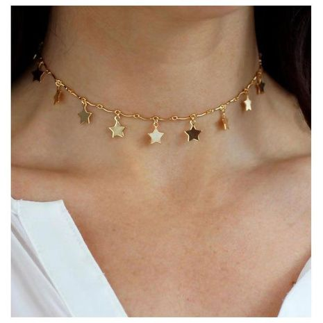 Clavicle chain temperament simple wind short section copper five-pointed star NHCT175211's discount tags